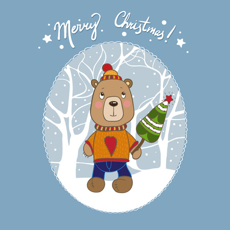 Vector Christmas bear card. It can be used for card, postcard, poster, invitation, wallpaper, textile design, fabric design, cover, banner, sticker. Vector