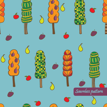 vector cute trees seamless pattern. It can be used for card, postcard, textile design, cover, poster. Vector