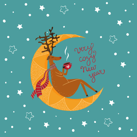 vector Christmas card with a  sitting deer. It can be used for card, postcard, banner, sticker, wallpaper. Vector