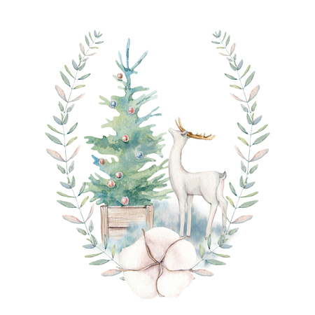 Watercolor christmas illustration. Perfect for christmas and new year cards, invitations Stock Photo