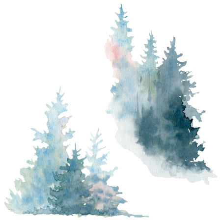 Artwork. Background painted with watercolor. Wild nature, frozen, misty taiga Christmas background