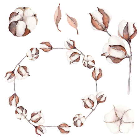 Watercolor cotton branch flower print decoration. Perfect for wedding design, greeting cards.
