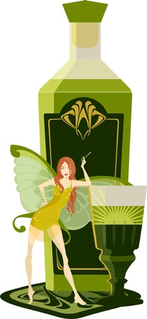 Bottle of absinthe with a green fairy Stock Vector - 16864507