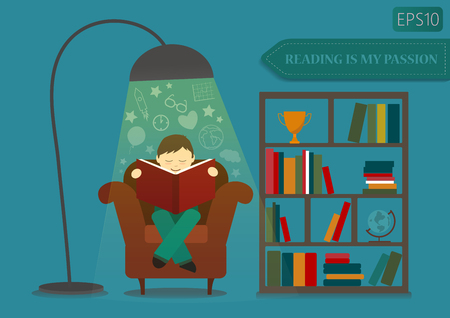 study concept: Boy reading book and imagine near stand with books.