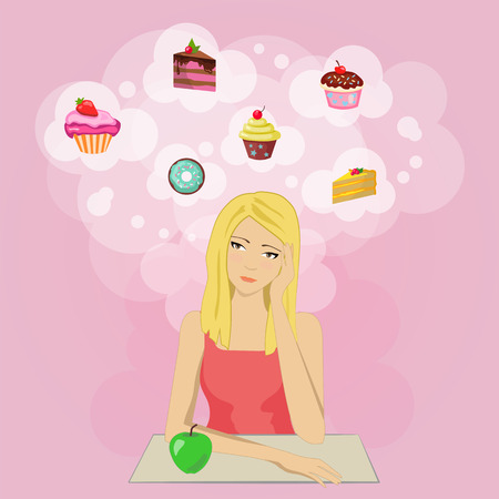 eats: Girl eats healthy food but want sweets and cookies