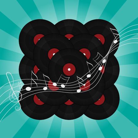 vinyl disk player: Abstract music vinyl background vector illustration on blue green Illustration
