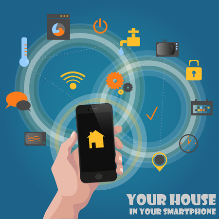 Smart home detectors controlling concept via phone abstract