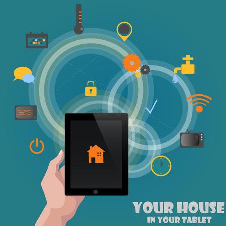 Smart home detectors controlling concept via tablet abstract