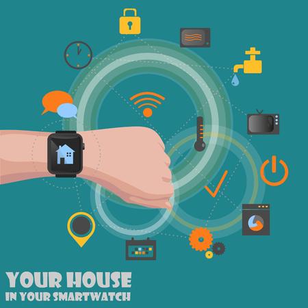 Smart home detectors controlling concept via smartwatch abstract