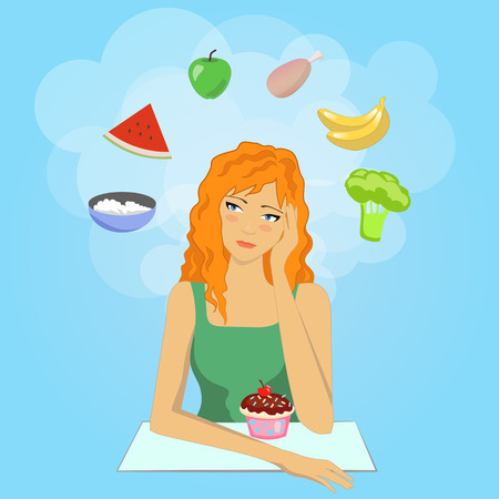 Girl decides to start a diet. She already want to eat healthy food.