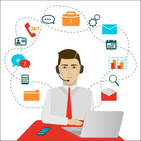 apoyo social: Hora operador de centro de soporte al cliente 24. Servicio iconos concepto de ilustración vectorial en el fondo blanco