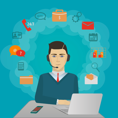 support center: Time 24 customer support center operator. Service icons concept vector illustration Illustration