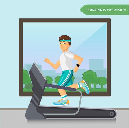 piernas hombre: Men running on treadmill in fitness sport center.