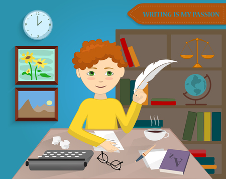 Writer writes a story. Modern design concept illustration