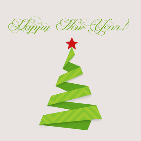 christma: modern design christmas tree Happy New Year isolated