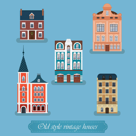 front of house: old style vintage houses set isolated on blue background