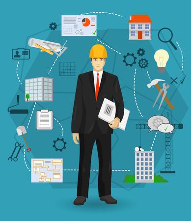Hombre del constructor concepto de trabajador encargado con iconos planos. La construcción y la construcción de la profesión