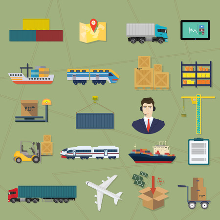 Logistic icons. Delivery cargo vector service illustrations