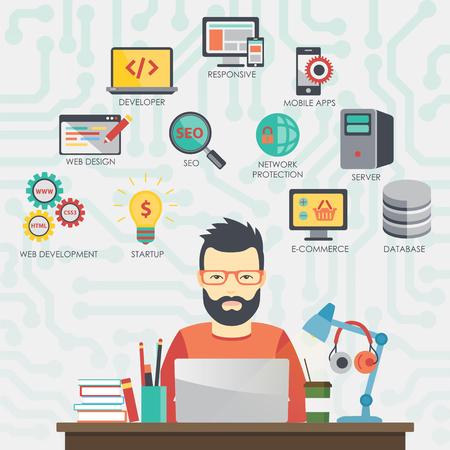 Człowiek programista pracuje nad swoim laptopie. Programowanie.