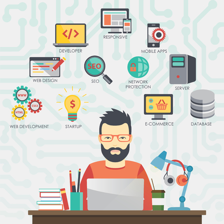 Man programmer is working on his laptop. Programming.