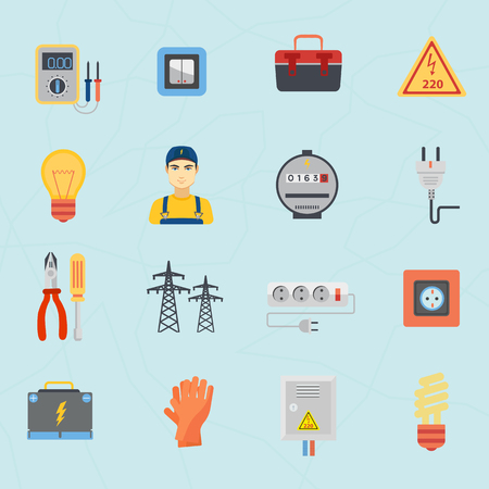 electric bulb: Electrician instruments tools flat icons set isolated Illustration