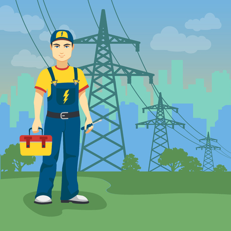 redes electricas: Electrician man near high-voltage power lines on city shape backgrounds