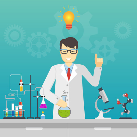 children education: Chemical laboratory science and technology. Scientists workplace idea concept