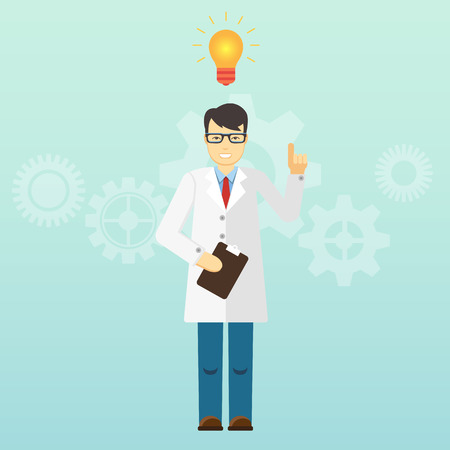 a solution tube: Young scientist professor got an idea. Startup. Illustration