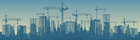 Wide banner illustration of buildings under construction in process.