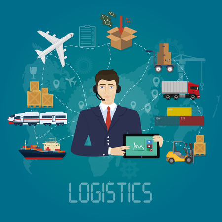 Vector logistics manager agent concept. Delivery cargo vector service illustrations