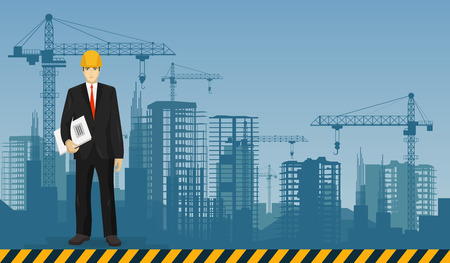 construction equipment: Builder man worker on the under construction buildings background Illustration