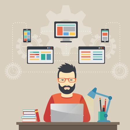 Man software engineer concept met design, optimalisatie, responsieve en ontwikkelaar oplossingen