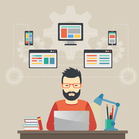 solutions: Man software engineer concept with design, optimization, responsive and developer solutions Illustration