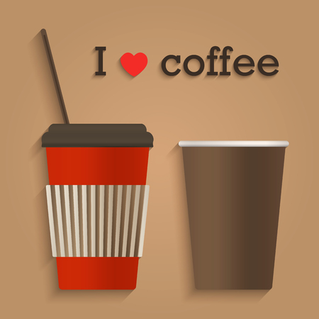 cappuccino cup: Disposable coffee cup icon with coffee flat design concept isolated