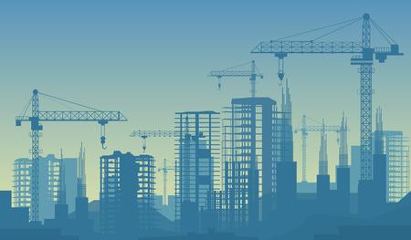 Banner illustration of buildings under construction in process. Ilustração