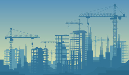 Banner illustration of buildings under construction in process. Illustration