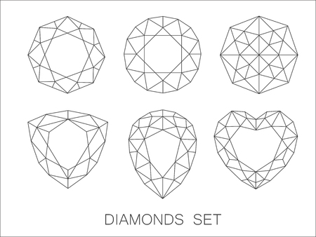 marquise: Elegant thin line diamonds icons set. Vector