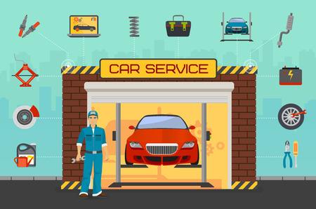 Samochodów naprawy centrum koncepcji z pracownikiem. Ilustracje wektorowe