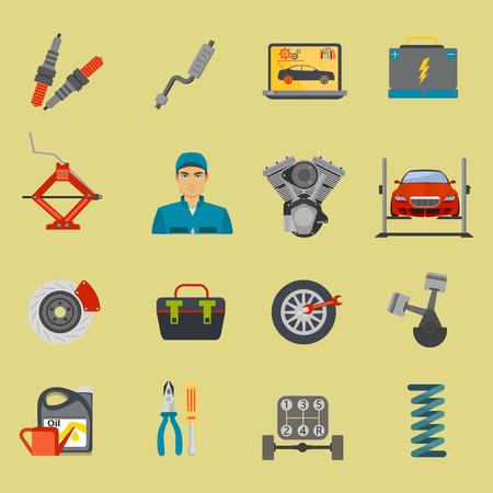 auto service: Auto mechanic car service flat icon set isolated