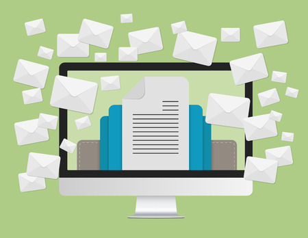 マーケティングの概念と多くのラップトップ コンピューターの画面でエンベロープ メッセージをメールで送信します。