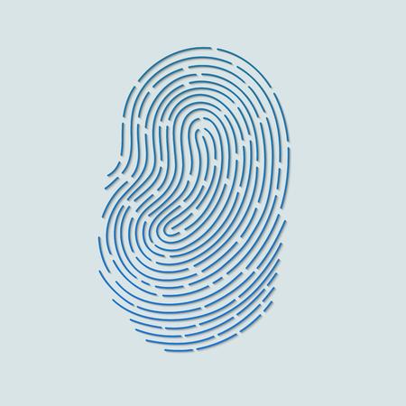 Touch fingerprint id app with shadows vector illustration