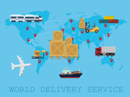 refrigerated: Logistic shipping service delivery world map concept
