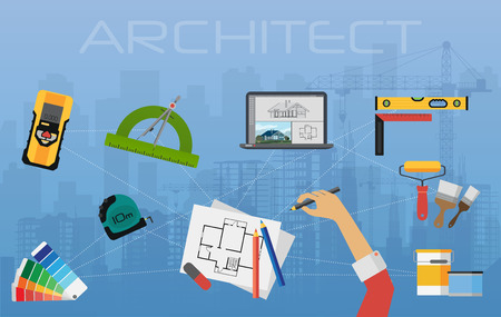 abstract building: Architect construction planning and creating process. architectural project, technical concept top