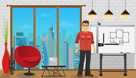 architect office: Man architect working with Blueprint at Office or studio