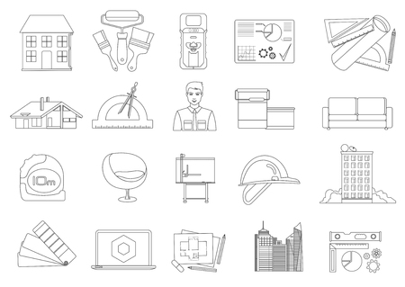 Architecture and Construction line icons set isolated