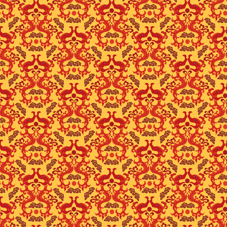 dragon year: Chinese asian dragon style seamless pattern background. Traditional vector ornament. Illustration