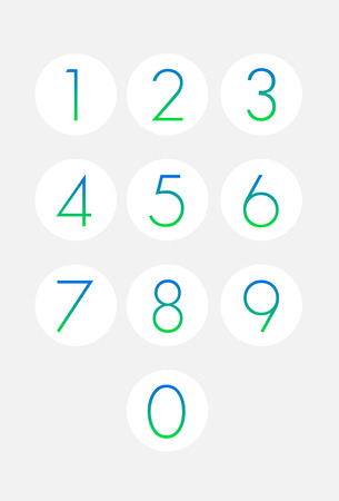 Thin numbers icons set. Buttons isolated. Vector illustration