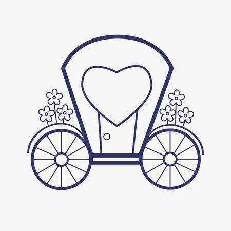 brougham: Vector Wedding Outline carriage icon set. Elegant Thin line style design Illustration