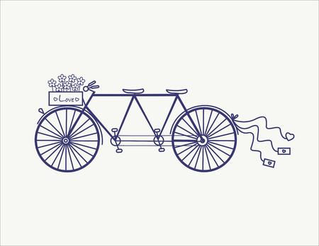 Aislado boda en tándem de la vendimia del vector del icono de la bicicleta llustration. Foto de archivo - 50897163