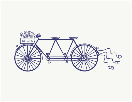 Wedding Vintage tandem bicycle vector icon llustration isolated. Vettoriali